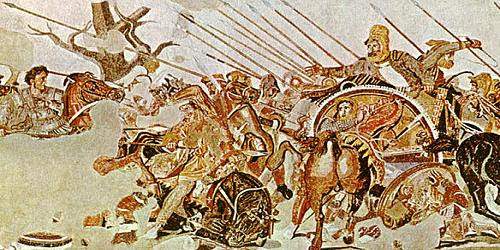The bigger picture: The battle of Issus in 333 BC showing Alexander on the left, battling with Darius III, in the chariot on the right.
