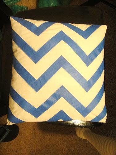 DIY painters tape chevron design pillow