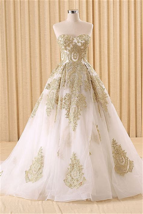 Vintage Swwetheart Gold Lace Ball Gown Wedding Dress White