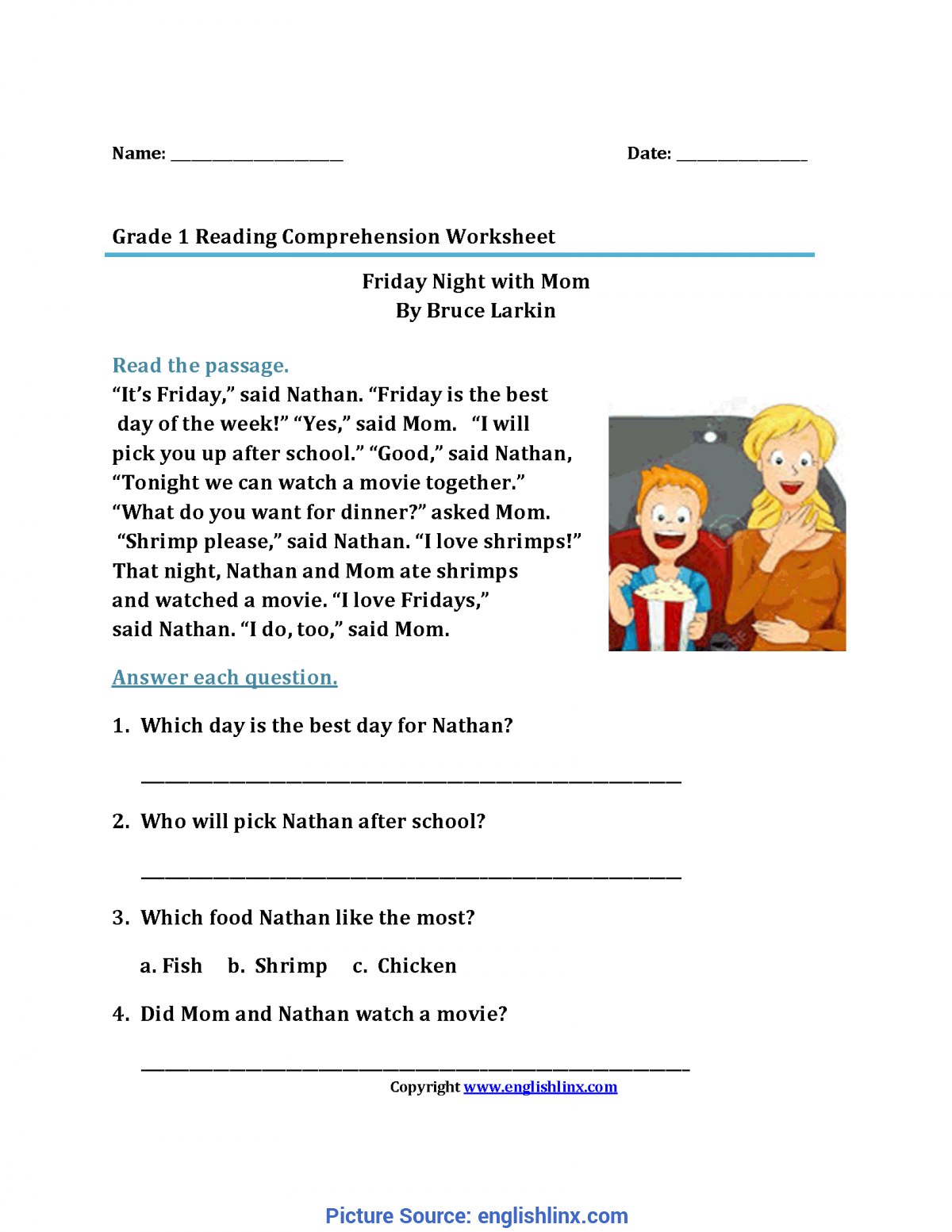 Plex 1St Grade Reading Prehension Reading Worksheets