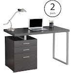 Monarch Specialties Left/Right Contemporary Office Computer Desk, Gray (2 Pack) by VM Express