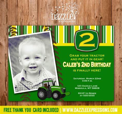 Printable Boys Tractor Birthday Invitation   John Deere