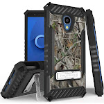 Autumn Camouflage Tree Leaf Real Woods Rugged Hunting Case Camo Cover [Metal Kickstand + Wrist Strap] for Alcatel TCL LX, A502DCP, A502DL
