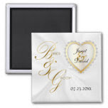 Bride & Groom Elegant Wedding Keepsake 2 Inch Square Magnet