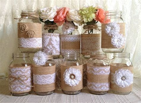 10x rustic burlap and white lace covered mason jar vases