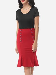 Band Collar Printed Bodycon Dresses