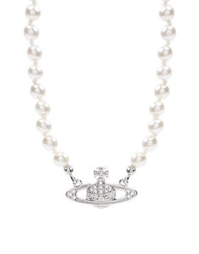 Image 1 of Vivienne Westwood Pearl And Crystal Mini Bas Relief Choker