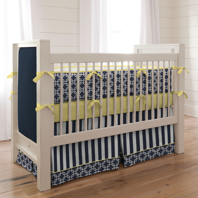 Navy and Yellow Geometric Crib Bedding - Contemporary ...