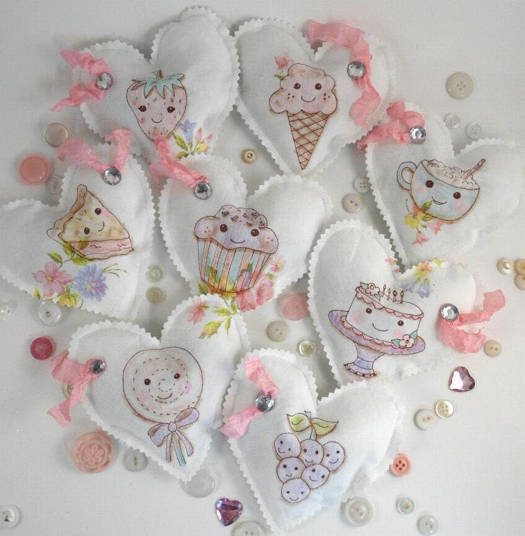 Sweet Treat Sachet faux stitchery pattern - pdf fabric pin keep cake cupcake strawberry pie coffee cushion shabby chic lavender seam binding