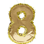 Small Number 8 Gold Foil Pinata, Eighth Birthday Party Supplies, 15.5 x 10.5 x 3 Inches