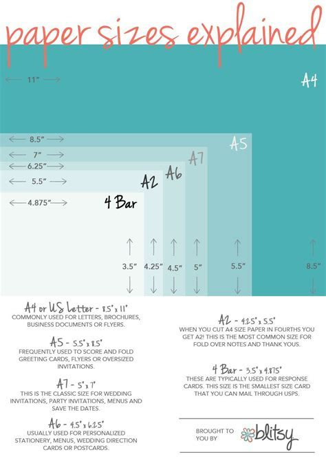 Paper Size Chart for Crafters   crafts   Paper sizes chart
