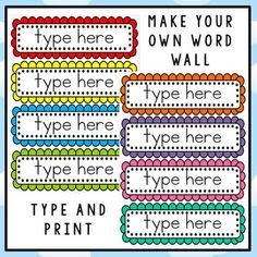 Editable Word Wall Templates!   Words, Bulletin boards and Word walls