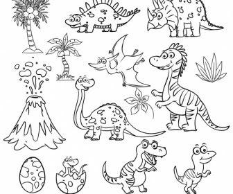 Tricerdi Atas Dinosaur Icon Cute Digambar Kartun Sketsa Vektor Icon Vektor Gratis Download Gratis