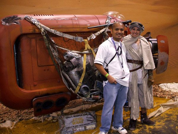 Posing with a fan-made version of the landspeeder used by Rey (Daisy Ridley) in THE FORCE AWAKENS... at the Star Wars Celebration on April 16, 2015.