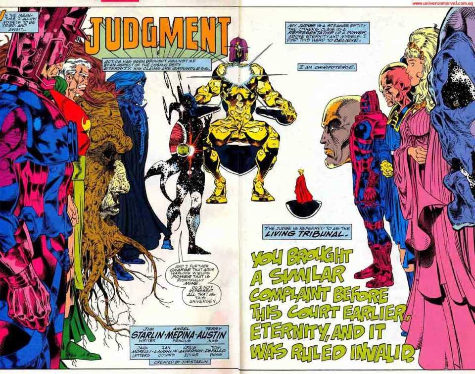 Tòa xử anh có tội, nhưng Adam Warlock không chấp nhận và sử dụng IG giết  sạch, phá hủy đa vũ trụ cho đến khi Living Tribunal búng tay cái chóc, ...
