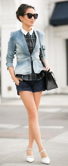 Rebecca Taylor Zip-Waist denim Jacket by Wendy's Lookbook