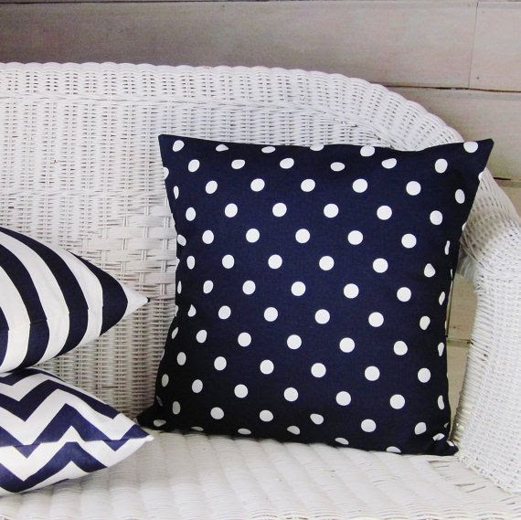 """Throw Pillow Cover Navy Blue Polka Dot Home by GigglesOfDelight.  Available in 16"""", 18"""", 20"""", 22"""" sizes."""
