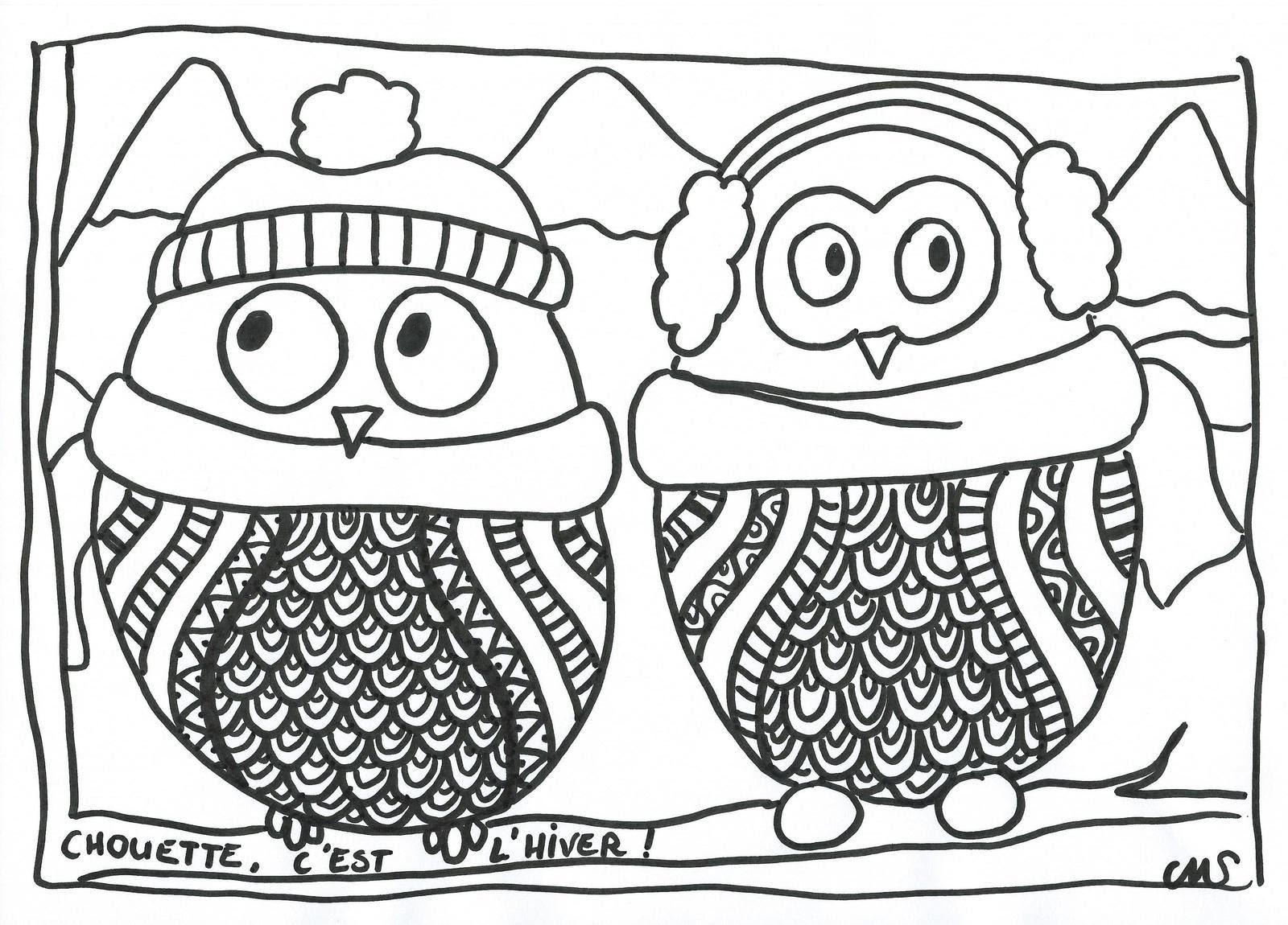Coloriage les ptites chouettes d hiver