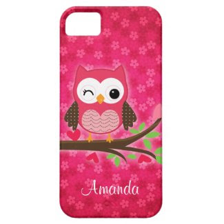 Hot Pink Cute Owl Girly iPhone 5 Cover
