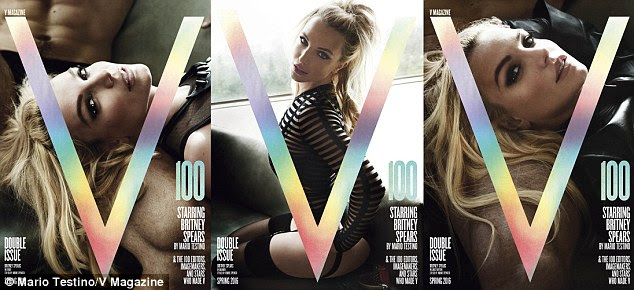 Racy photoshoot: Britney appears on three different covers for the 100th issue of the magazine