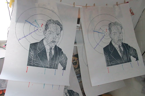 Niels Bohr portraits drying