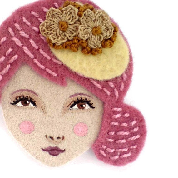Embroidered felt brooch - Anna, 1940s elegant girl, rose, antique brown, woman face