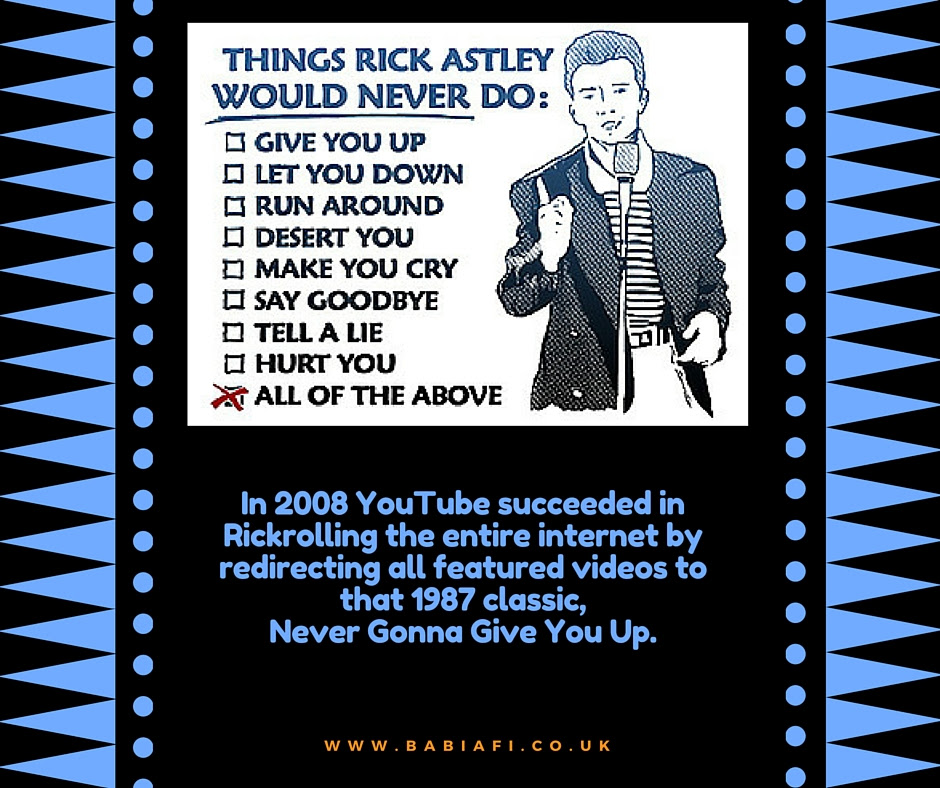 YouTube Rickrolls the internet, 2008
