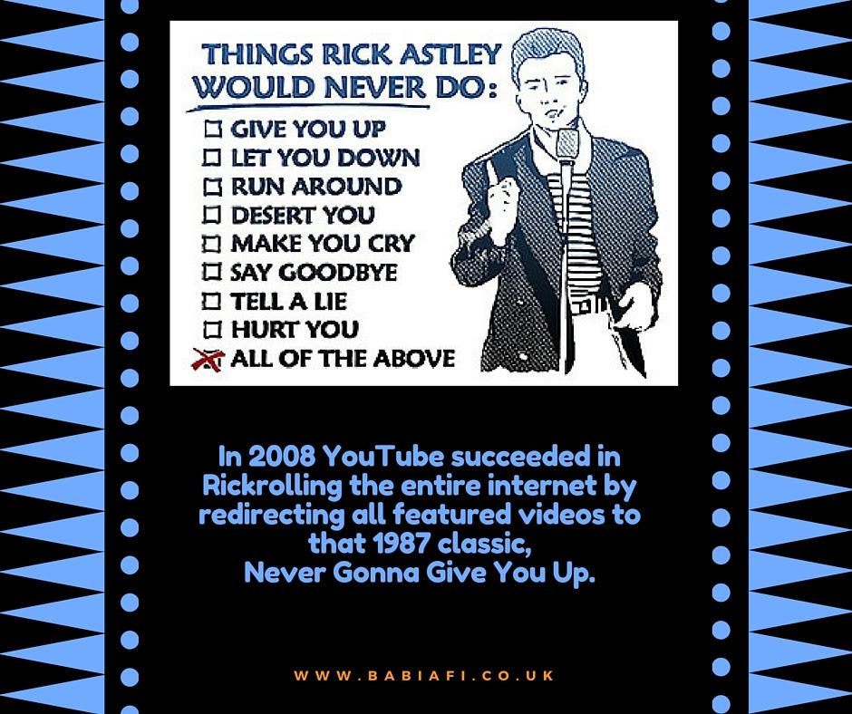 YouTube Rickrolls the internet, 2008