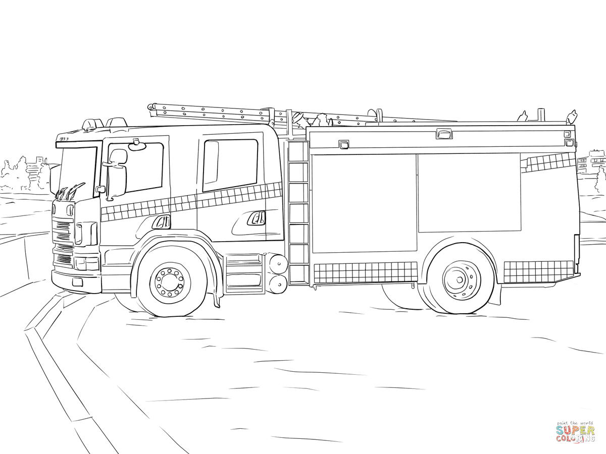 er sur la Camion de pompier coloriages