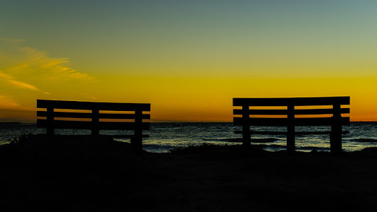 Sunset and the benches on Pass-A-Grille on #StPete Beach #Florida