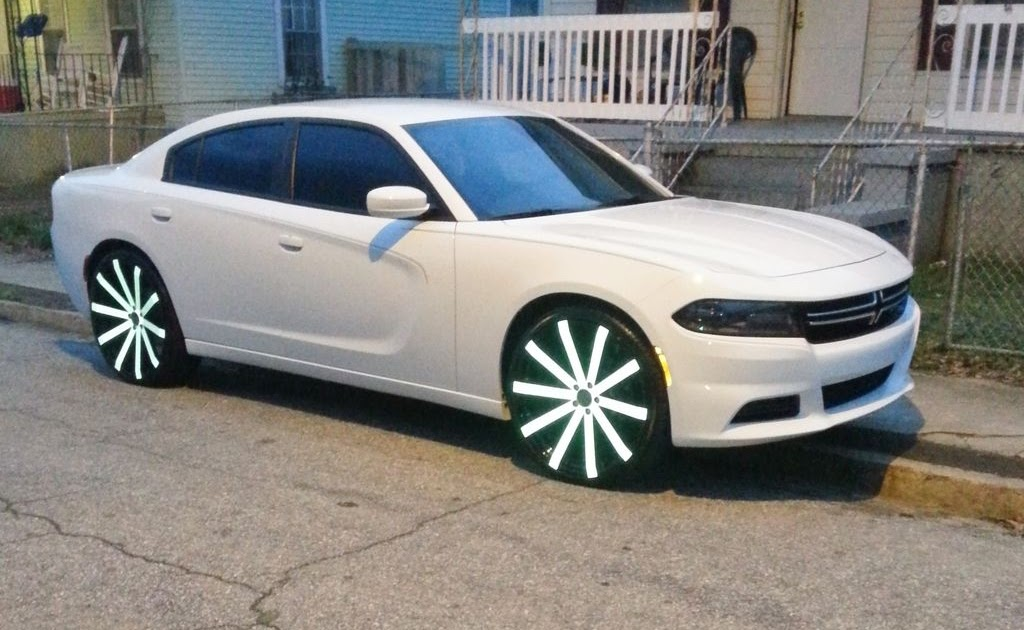 "2015 Ford Fusion Rims >> Ace-1: White 2015 Dodge Charger on 24""s"