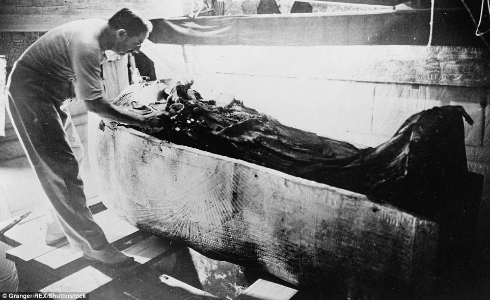 Carter went on to become an important archaeologist                and the lead excavator of the tomb of King Tutankhamun.                Above the archaeologist is photographed with the coffin of                King Tut in The Valley Of The Kings, Egypt in 1925
