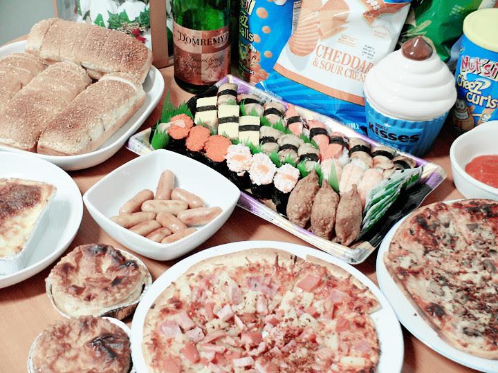 chirstmas feast food close up