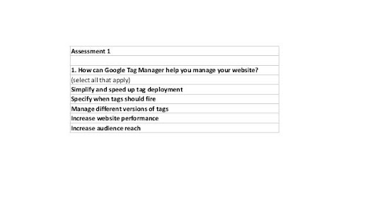 Google Tag Manager Fundamentals - Certification Course Assessment 1