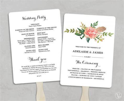 Printable Wedding Program Template, Fan Wedding Programs