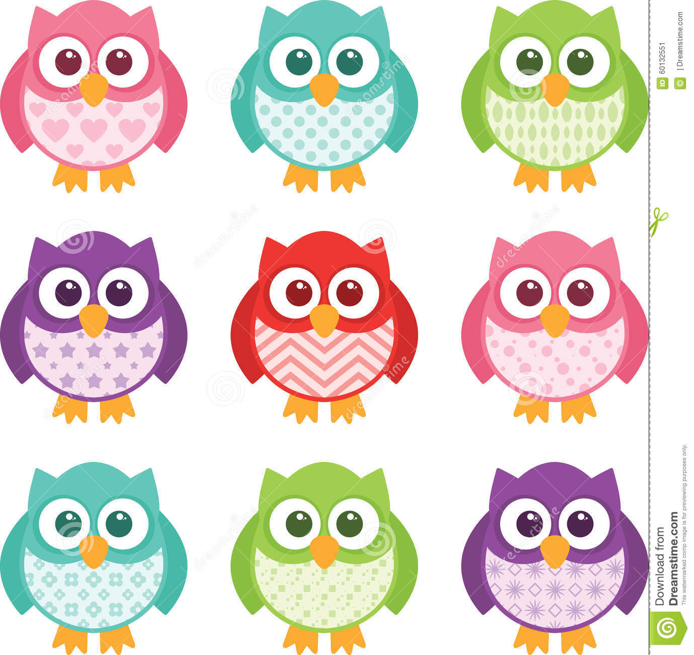 Cute Simple Cartoon Patterned Owls Stock Vector - Image: 60132551
