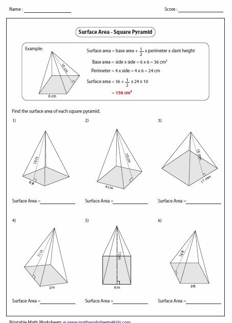 Teach child how to read: Surface Area Square Pyramid