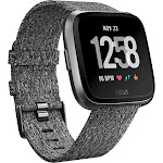 Fitbit Versa Fitness Watch Special Edition, Charcoal Woven/Graphite Aluminum FB505BKGY