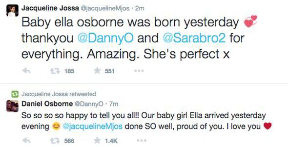 Jacqueline and her boyfriend Dan Osborne confirmed the news via Twitter