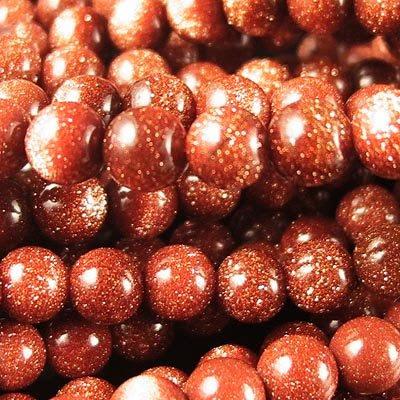 s19069 Stone Beads - 6 mm Round - Goldstone (strand)