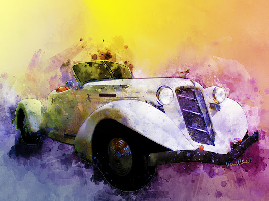 Classic 36 Auburn Speedster Watercolour by Chas Sinklier