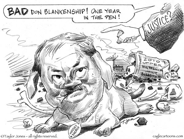Taylor Jones - Politicalcartoons.com - Blankenship sentenced - English - don,blankenship,sentenced,upper,big,branch,mine,disaster,mining,coal,industry,massey,energy,west,virginia,criminal,negligence,miscarriage,of,justice
