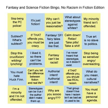 SF Racism Bingo Card