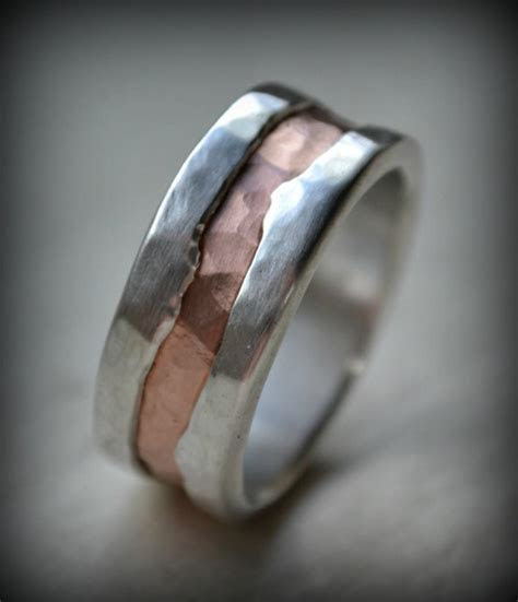 Mens Wedding Band   Fine Silver And 14K Rose Gold Ring