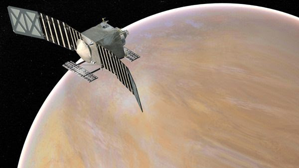 An artist's concept of the VERITAS spacecraft orbiting Venus.