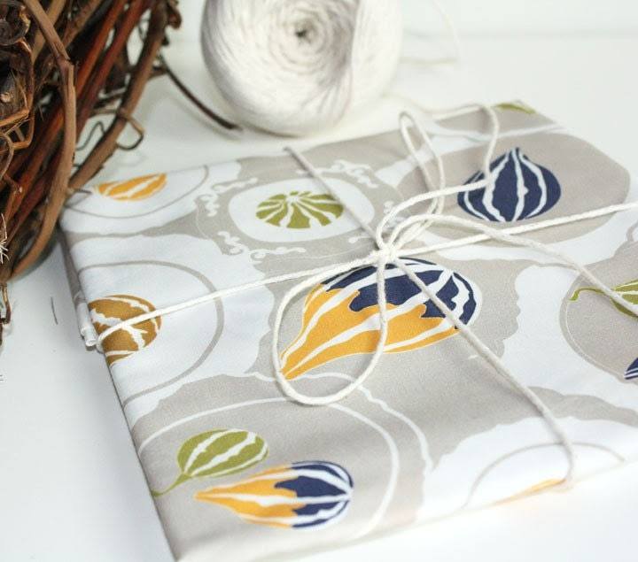 "Kitchen fabric with a modern twist - ""Gourds on vintage plates"" cotton ( Fat Quarter)Ready to ship"