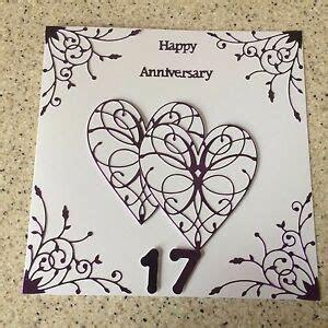Handmade Ameythst Wedding Anniversary card Happy 17th
