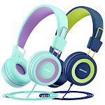 Mpow CH8 Kids Headphones with Microphone (2-Pack), Wired On-Ear Headsets with Safe Volume Limited 91dB, Foldable Durable Earphones w/Audio Splitter