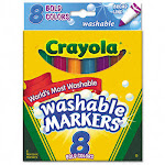 Binney & Smith 587832 Washable Markers Broad Point Bold Colors 8 Pack