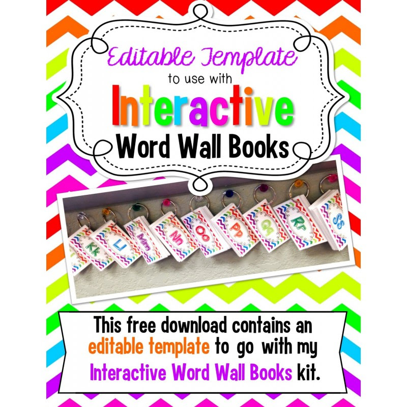 Template to go with Interactive Word Wall Books